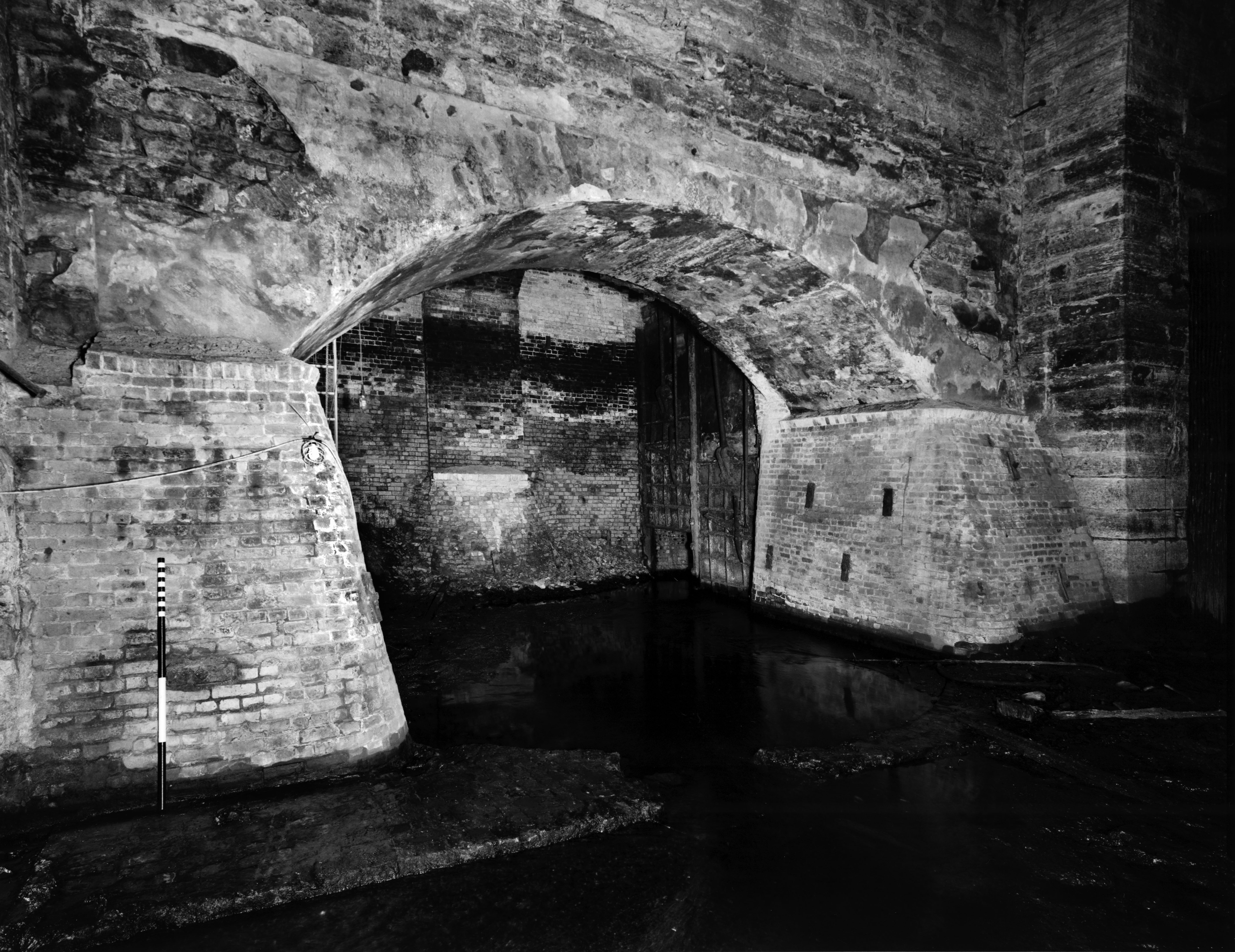 Forebay arch at headrace tunnel terminus - MHRP HE-MPC-9995-16 (Please credit Daniel R. Pratt and the Historic American Buildings Survey)