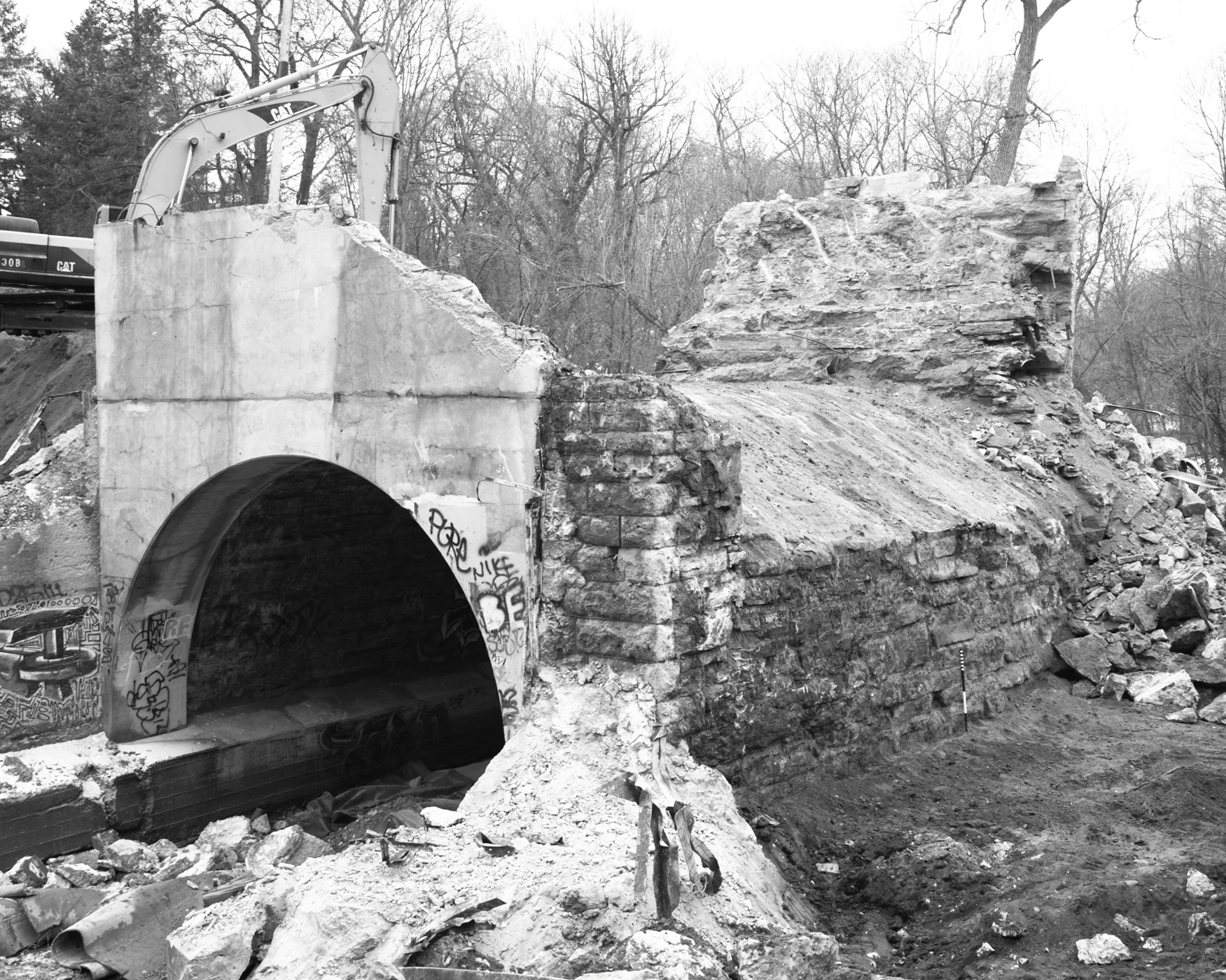 Exposed Structure during Demolition (Please credit Daniel R. Pratt and the Minnesota Historic Property Record)