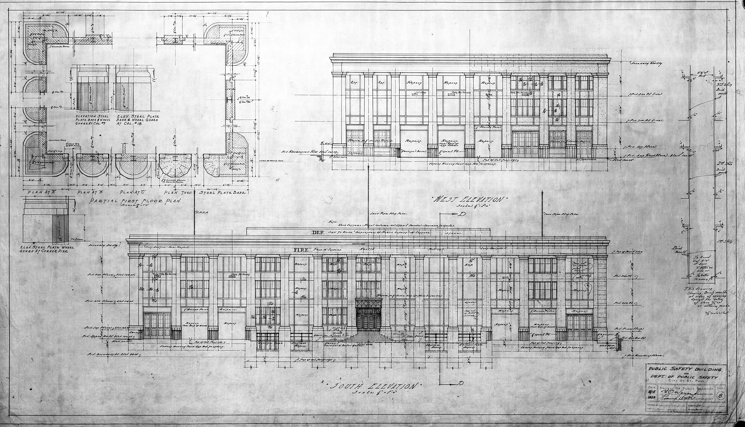 Main Elevation Plan - MHPR RA-SPC-5426-43 (Please credit Daniel R. Pratt and the Minnesota Historic Property Record)