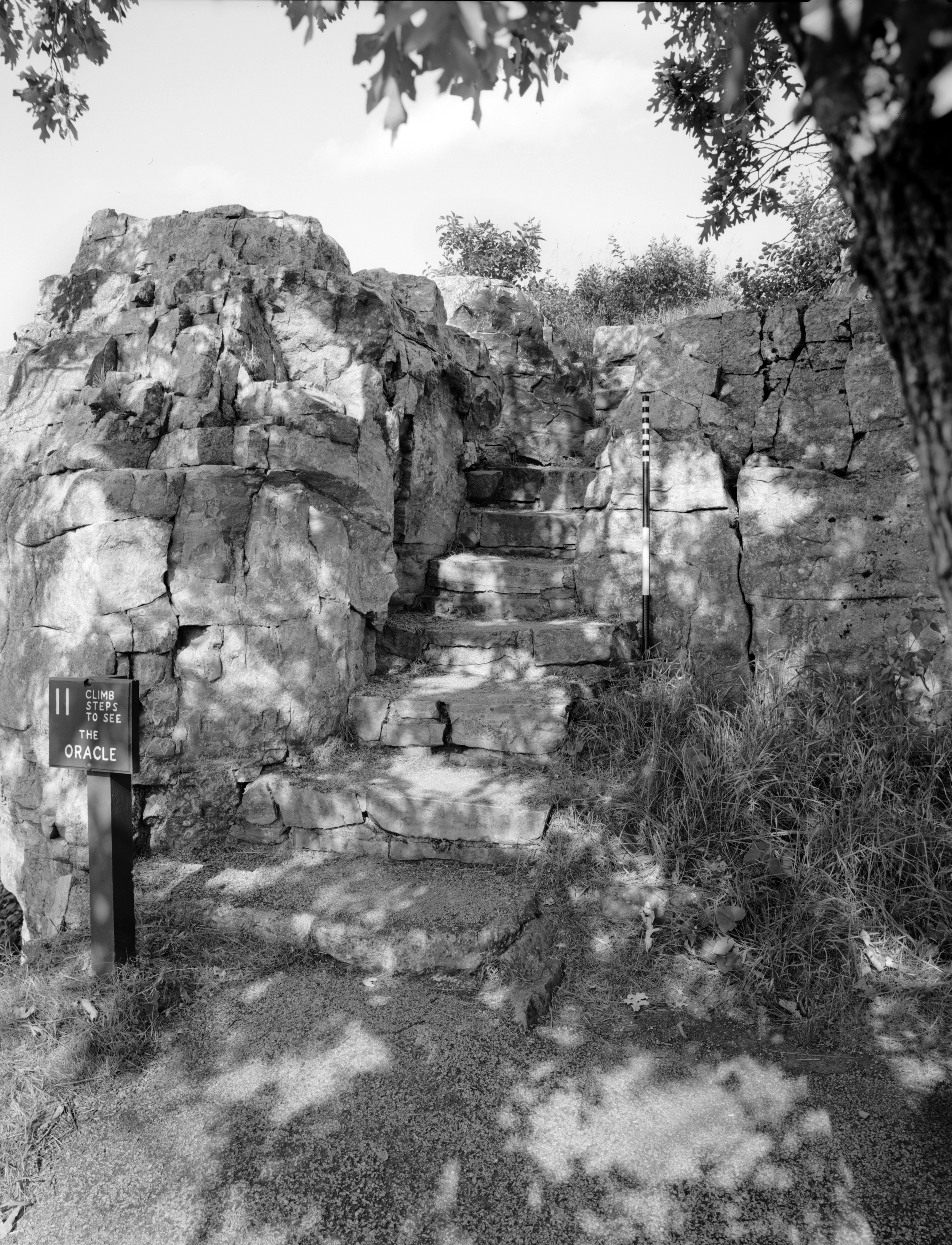 "HALS MN-5-01 Pipestone National Monument Steps to the ""Oracle"" (Please credit Daniel R. Pratt and the Historic American Landscapes Survey)"