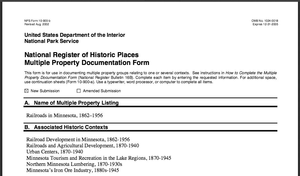 Multiple Property Documentation: Railroads in Minnesota, 1862-1956